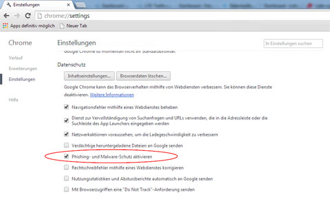 Chrome Anti-Phishing aktivieren