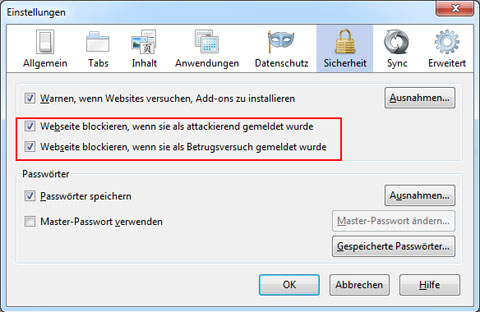 Firefox Anti-Phishing aktivieren
