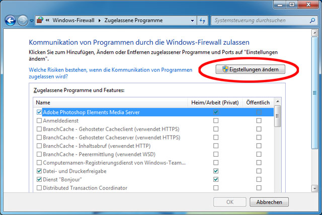 Programmfreigaben Windows-Firewall