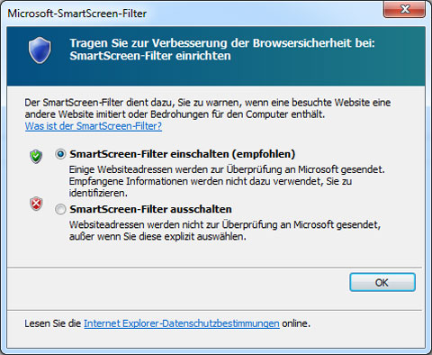 Internet-Explorer SmartScreen Filter aktivieren