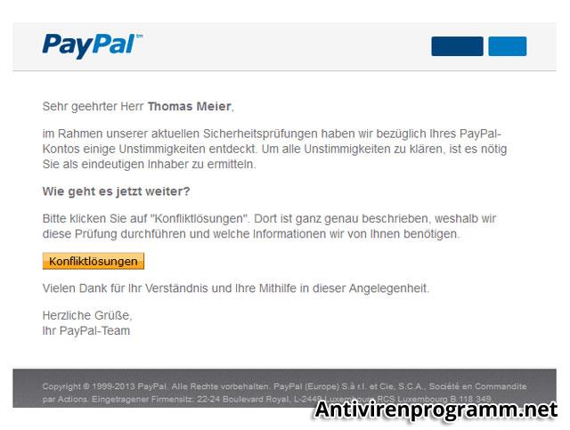 Phishing Attacke beim Paypal-Account