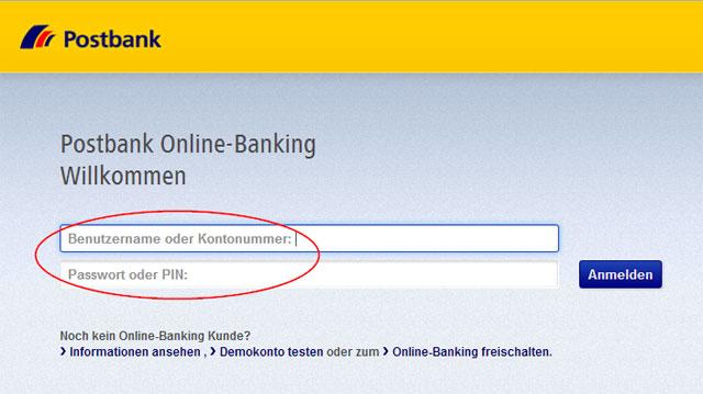 Postbank Benutzername und Passwort