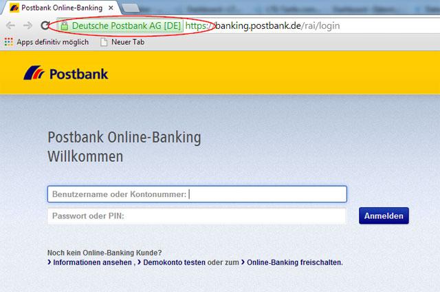 Postbank gesicherter Login
