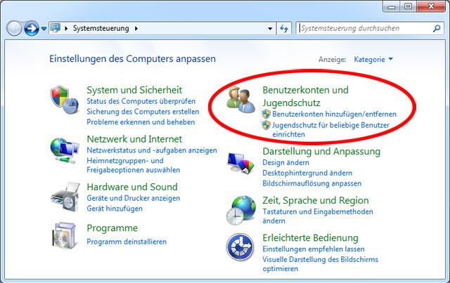 Systemsteuerung Windows 7 Benutzerkonten