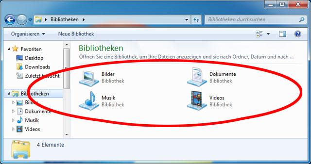Windows Bibliotheken