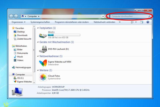 Windows Explorer Suchschlitz