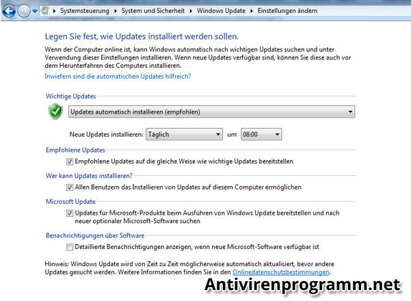 Windows-Update Einstellungen aktivieren