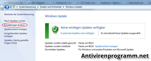 Windows-Update Einstellungen